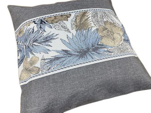 Poszewka dekoracyjna - 40x40 -Flora - popielata - int 520