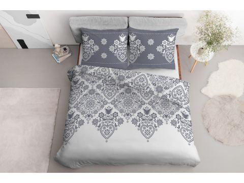 Pościel z bawełny - 160x200 - 3551 a - Łowicka biała - Detexpol