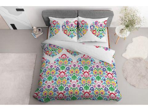 Pościel z bawełny - 160x200 - 3552 b - Łowicka kolorowa - Detexpol