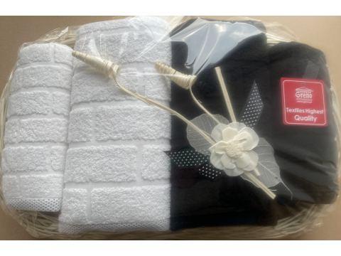 Komplet Ręczników IV Brick na prezent Tacka biały, czarny - Greno