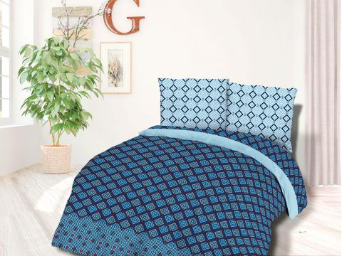 Pościel z Flaneli 140x200 +70x80 Geometryczna niebieska 31489/2