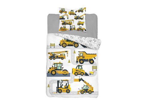 Pościel z bawełny 160x200 +70x80 Dzwig, koparka 3632 A Holland  holenderska dla dzieci