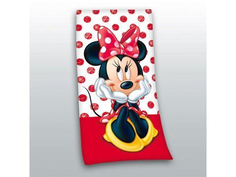 Ręcznik Plażowy licencyjny 70x140 cm Myszka Minnie STC 02 czerwony  Disney