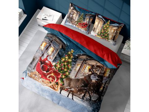 Pościel z bawełny 160x200 3899 A  Mikołaj w saniach Holland Christmas holenderska