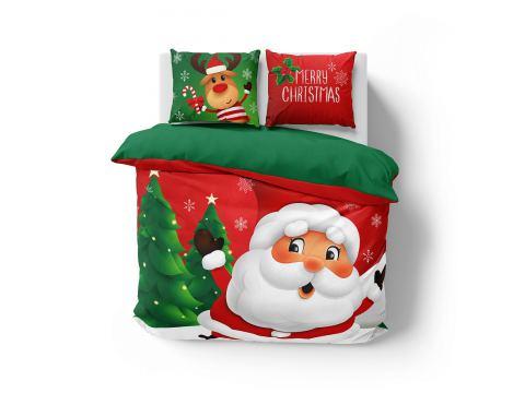 Pościel z bawełny 160x200 3900 A  Mikołaj Holland Christmas holenderska
