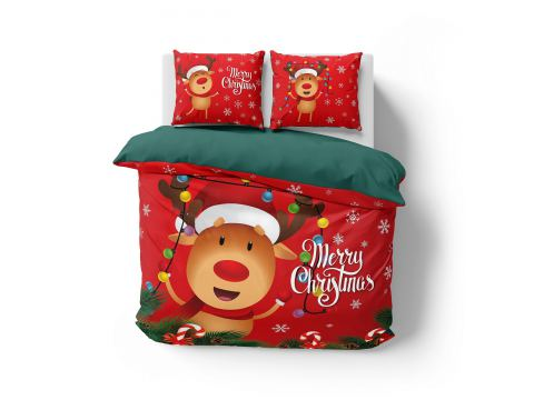 Pościel z bawełny 160x200 3904 A  Renifer Mikołaja Holland Christmas holenderska