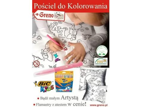 Komplet pościeli dziecięcej  do kolorowania z pisakami Girl 140x200  Greno