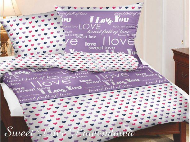 Komplet pościeli satynowej  Greno  Gold Line Sweet Love lawenda  140x200