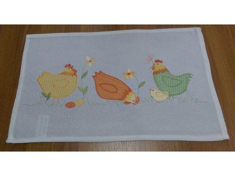 Serwetka  świąteczna - biała z żółtą kurką - 25x40 cm - Wielkanoc - INT 15790