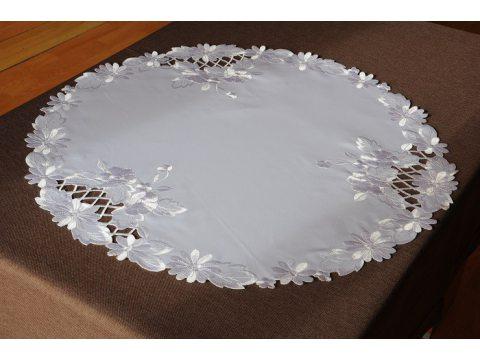 Serwetka Haftowana  śr 60  biała  (723)