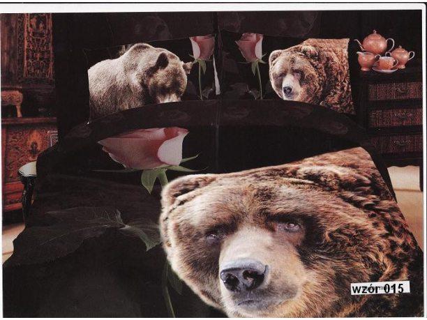 Komplet pościeli satynowej 220x200 Rosso 3D - Niedźwiedź -015
