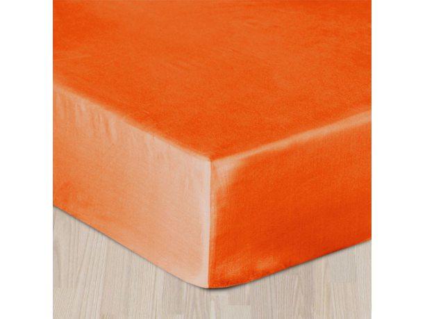 Prześcieradło satynowe z gumką 140x200 pomarańczowe   035