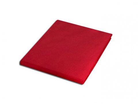 Prześcieradło z satyny bawełnianej 220x200 czerwone 029  bez gumki
