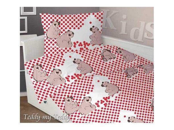 Komplet pościeli satynowej dziecięcej Greno 160x200 Teddy My Teddy Czerwony