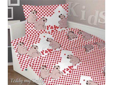 Komplet pościeli satynowej dziecięcej Greno 140x200 Teddy My Teddy Czerwony