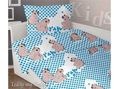 Komplet pościeli satynowej dziecięcej Greno 140x200 Teddy My Teddy Niebieski