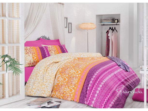 Komplet pościeli 4 el.  bawełnianej Granada Pink 160x200