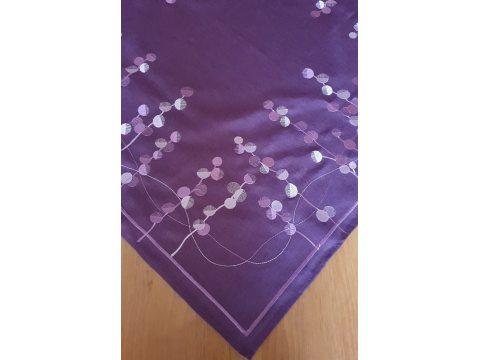 Bieżnik haftowany - fioletowe haftowane koła - 85x85 cm - INT 0039