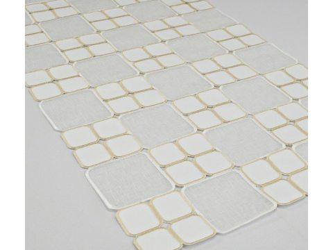 Bieżnik - z kwadratami kremowymi - 50x100 cm int 128