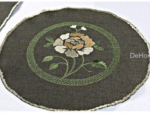 Serwetka haftowana 25x25 Róz brąz int 623