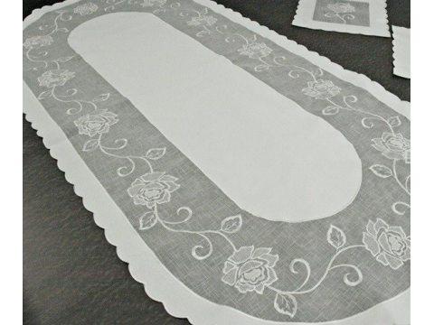 Bieżnik nakładka - owal z rożą biały - 60x120 cm - wz. 822