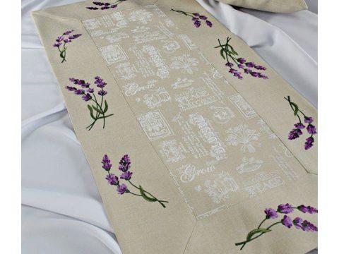 Bieżnik - z kwiatami lawendy - 40x140 cm - wz. 37969