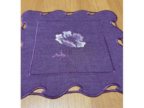 Serwetka haftowana 25x25  Róża int 0635 fioletowa