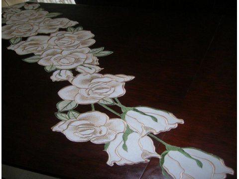 Szal haftowany 26x115 cm   Róża  c-2 beżowy