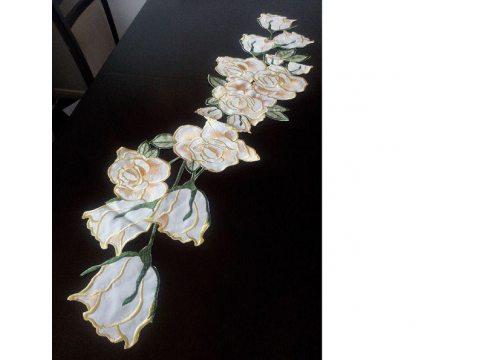 Szal haftowany 26x115 cm   Róża  c-2 złota