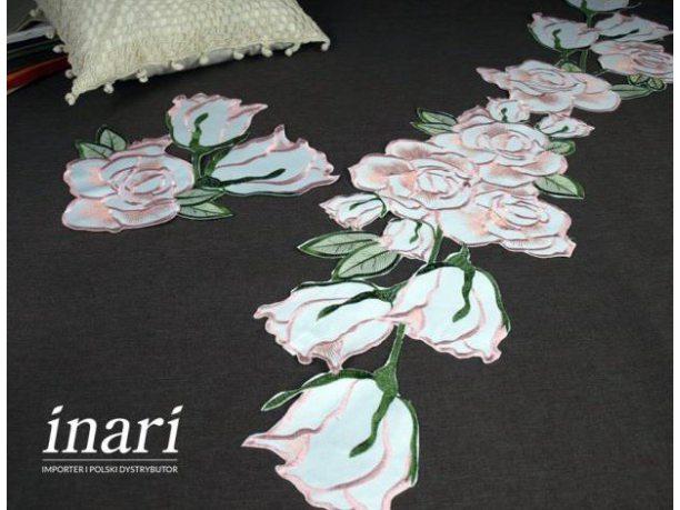 Szal haftowany 26x115 cm   Róża  c-2 różowy