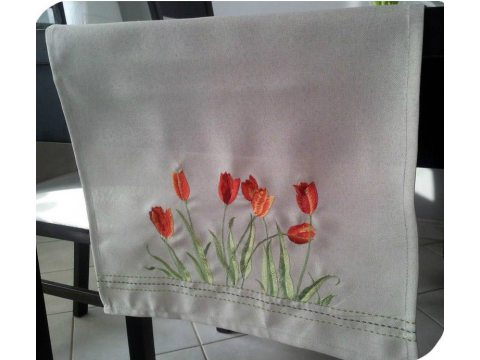 Szal haftowany 40x180 cm   Tulipany   047