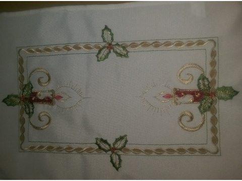Bieżnik świąteczny - biały z motywem świeczki - 30x45 cm - INT 520