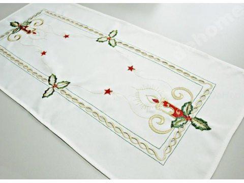 Bieżnik świąteczny - biały z motywem świeczki - 35x70 cm - INT 520