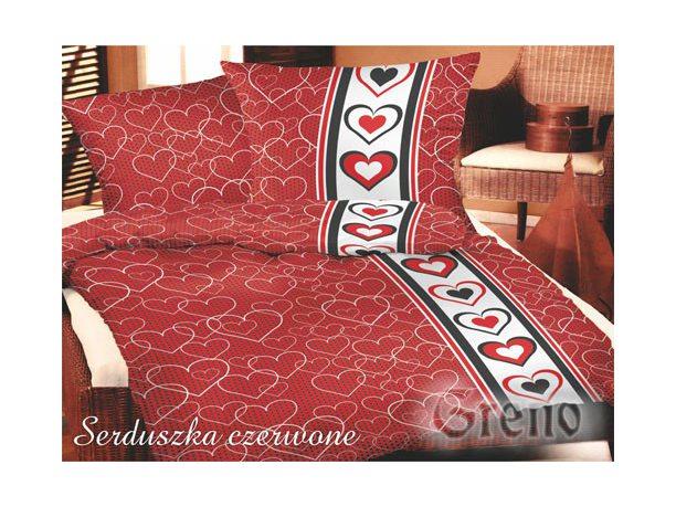 Komplet pościeli satynowej  Greno  Gold Line Serduszka Czerwone 140x200