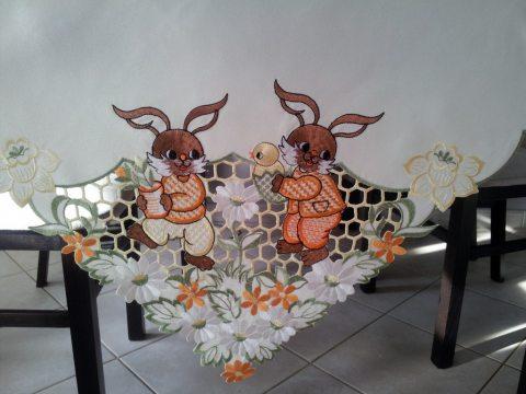 Bieznik Wielkanocny  50x100 Zajączki 965 ciemny krem