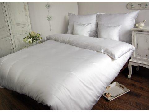 Komplet pościeli  z bawełny satynowej jednobarwnej  Carmen 200x220 Biały  603
