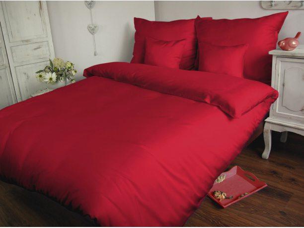 Komplet pościeli  satynowej jednobarwnej  Carmen 180x200 Czerwony   029