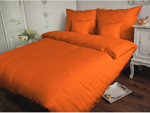 Komplet pościeli  satynowej jednobarwnej  Carmen 200x220  Pomarańczowy  035