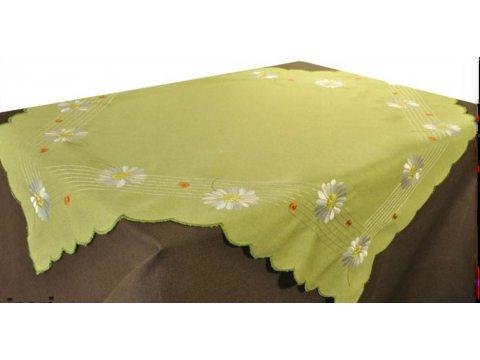 Bieżnik haftowany - margetka zielona - 50x100 cm - INT 947
