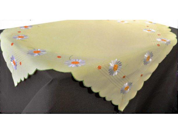 Bieżnik haftowany - margetka żółta - 85x85 cm - INT 947