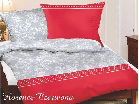 Komplet pościeli satynowej bawełnianej Greno 180x200  Florence czerwona  Gold line