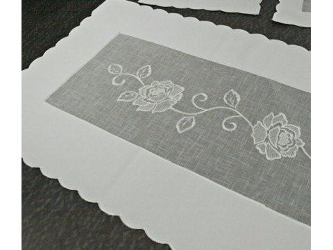 Szal  z różą 40x140 biały 822