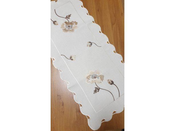 Bieżnik dekoracyjny - Haftowana Beżowa  Róża - 40x90 - Krem 0635