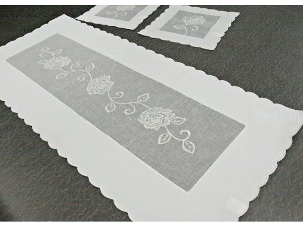 Bieżnik dekoracyjny - z białą różą - 60x120 cm 822