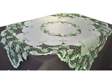 Bieżnik haftowany - zielony - 85x85 cm - wz. 962