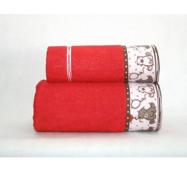 Ręcznik  dla dzieci Sweet Bear 70x125  Czerwony Greno