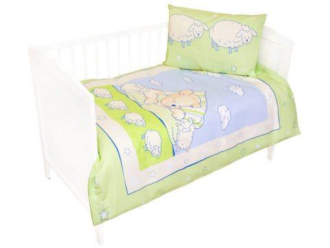 Komplet pościeli do łóżeczka 100x135 Miś z owieczką  zielony
