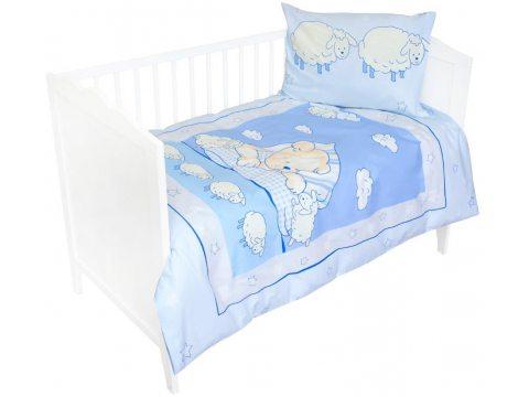 Komplet pościeli do łóżeczka 100x135 Miś z owieczką  niebieski
