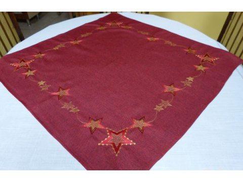 Bieżnik świąteczny - bordowy z gwiazdkami - 85x85 cm - wz. 2840