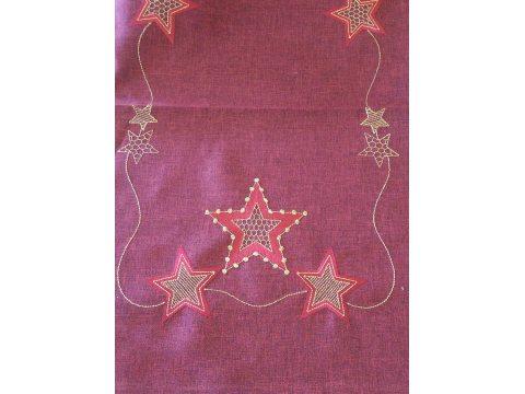 Bieżnik świąteczny - bordowy z gwiazdkami - 40x140 cm - wz. 2840